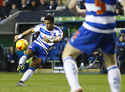 Reading striker, Garath McCleary lets fly during the Sky Bet Championship match between Reading and Blackburn Rovers at the Madejski Stadium, Reading, England on 20 December 2015. Photo by Andy Walter.