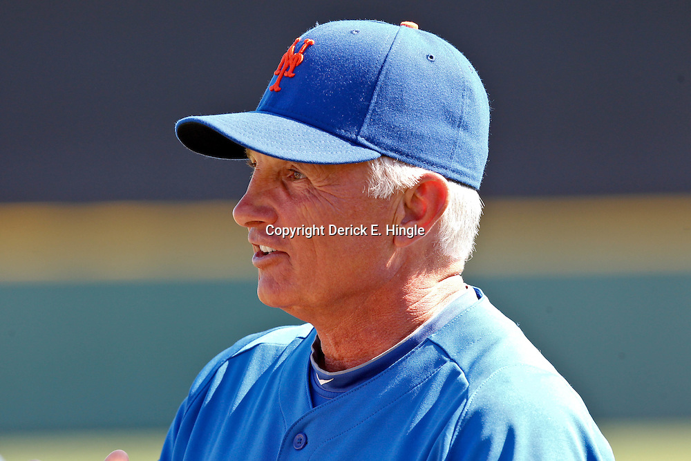 March 14, 2012; Lakeland, FL, USA; New York Mets manager Terry Collins (10) before a spring training game against the Detroit Tigers at Joker Marchant Stadium. Mandatory Credit: Derick E. Hingle-US PRESSWIRE
