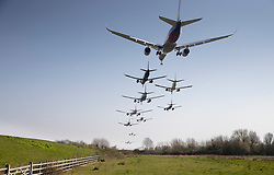 FILE IMAGE © Licensed to London News Pictures. 27/03/2020. London, UK. In this composite image, shot between 12:00 midday and 1:00pm, all 20 passenger aircraft taking off in one hour from the southern runway at London's Heathrow Airport are seen together. Flights to and from all UK airports are much reduced during the corona pandemic.. Photo credit: Peter Macdiarmid/LNP