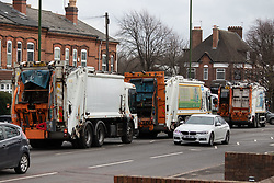 © Licensed to London News Pictures. 20/02/2019. Birmingham, UK. Birmingham bin men work to rule. Pictured, City Council Bin men and agency staff working to rule seen along he Coventry Road, Hay Mills. Industrial action by Birmingham waste collection services is resulting in a build up of rubbish on the streets in areas of the City. Photo credit: Dave Warren/LNP