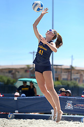 April 7, 2018 - Tucson, AZ, U.S. - TUCSON, AZ - APRIL 07: California Golden Bears Caroline Schafer (41) serves the ball during a college beach volleyball match between the California Golden Bears and the Arizona Wildcats on April 07, 2018, at Bear Down Beach in Tucson, AZ. Arizona defeated California 3-2. (Photo by Jacob Snow/Icon Sportswire (Credit Image: © Jacob Snow/Icon SMI via ZUMA Press)