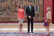 King Felipe VI of Spain, Queen Letizia of Spain and Eugenia Martinez de Irujo attend the Ceremony to mark the bicentennial of the founding of the Council of the Greatness of Spain at Palacio de El Pardo on June 16, 2015 in Madrid
