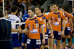 Andrej Flajs (1) of ACH, Veljko Petkovic (10) of ACH and Matej Vidic (16) of ACH after the  volleyball match of CEV Indesit Champions League Men 2009/2010 between ACH Volley Bled (SLO) and Istanbul Buyuksehir BLD (TUR), on December 9, 2009 in Arena Tivoli, Ljubljana, Slovenia. (Photo by Vid Ponikvar / Sportida)