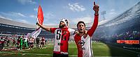 ROTTERDAM - Feyenoord - Heracles , Voetbal , Seizoen 2016/2017 , Eredivisie , Stadion Feyenoord - De Kuip , 14-05-2017 , Kampioenswedstrijd , eindstand 3-1 , Feyenoord speler Tonny Vilhena (l) viert het kampioenschap samen met Bilal Basacikoglu (r)