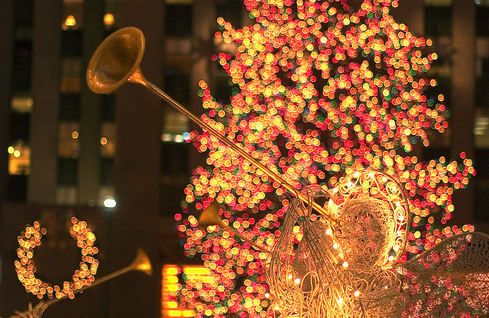 Channel Gardens at Christmas, Rockefeller Center, New York, NY