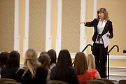 Keynote speaker and Ohio University graduate Nancy Miller talks to a crowd gathered for the Ohio Women in Business conference Thursday March 20, 2014.  Photo by Ohio University / Jonathan Adams