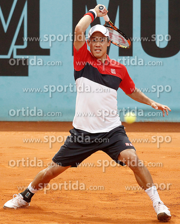 06.05.2015, Caja Magica, Madrid, ESP, ATP Tour, Mutua Madrid Open, im Bild Kei Nishikori, Japan, // during the Madrid Open of ATP World Tour at the Caja Magica in Madrid, Spain on 2015/05/06. EXPA Pictures &copy; 2015, PhotoCredit: EXPA/ Alterphotos/ Acero<br /> <br /> *****ATTENTION - OUT of ESP, SUI*****