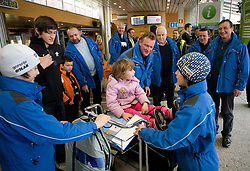 Slovenian ski jumper Peter Prevc, his brothers Cene (L) and Domen (R) and sister Nika at arrival to Airport Joze Pucnik from Vancouver after Winter Olympic games 2010, on February 24, 2010 in Brnik, Slovenia. (Photo by Vid Ponikvar / Sportida)