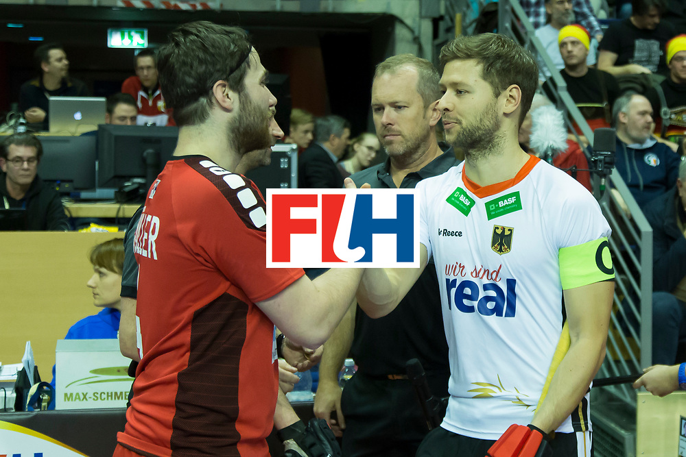 Hockey, Seizoen 2017-2018, 09-02-2018, Berlijn,  Max-Schmelling Halle, WK Zaalhockey 2018 MEN, Germany - Switzerland 3-0, Patrick Müller and Martin Häner. Worldsportpics copyright Willem Vernes