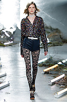 Marland Backus (New York) walks the runway wearing Rodarte Fall 2015 during Mercedes-Benz Fashion Week in New York on February 17, 2015