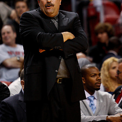 March 3, 2011; Miami, FL, USA; Orlando Magic head coach Stan Van Gundy during a game against the Miami Heat at the American Airlines Arena. The Magic defeated the Heat 99-96.    Mandatory Credit: Derick E. Hingle