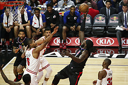 March 15, 2019 - Los Angeles, California, U.S - Los Angeles ClippersÃ• Montrezl Harrell (5) shoots against Chicago Bulls' Cristiano Felicio (6) during an NBA basketball game between Los Angeles Clippers and Chicago Bulls Friday, March 15, 2019, in Los Angeles. The Clippers won 128-121. (Credit Image: © Ringo Chiu/ZUMA Wire)