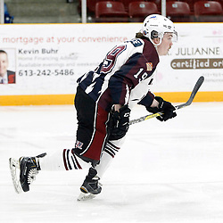 "TRENTON, ON  - MAY 2,  2017: Canadian Junior Hockey League, Central Canadian Jr. ""A"" Championship. The Dudley Hewitt Cup. Game 1 between Dryden GM Ice Dogs and the Georgetown Raiders.  Colton Sandboe #19 of the Dryden GM Ice Dogs skates up the ice during the first period.<br /> (Photo by Tim Bates / OJHL Images)"