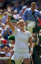 03.07.2014, All England Lawn Tennis Club, London, ENG, WTA Tour, Wimbledon, Tag 10, im Bild Petra Kvitova (CZE) celebrates after winning the Ladies' Singles Semi-Final match 7-6 (6), 6-1 on day ten // during day 10 of the Wimbledon Championships at the All England Lawn Tennis Club in London, Great Britain on 2014/07/03. EXPA Pictures &copy; 2014, PhotoCredit: EXPA/ Propagandaphoto/ David Rawcliffe<br /> <br /> *****ATTENTION - OUT of ENG, GBR*****