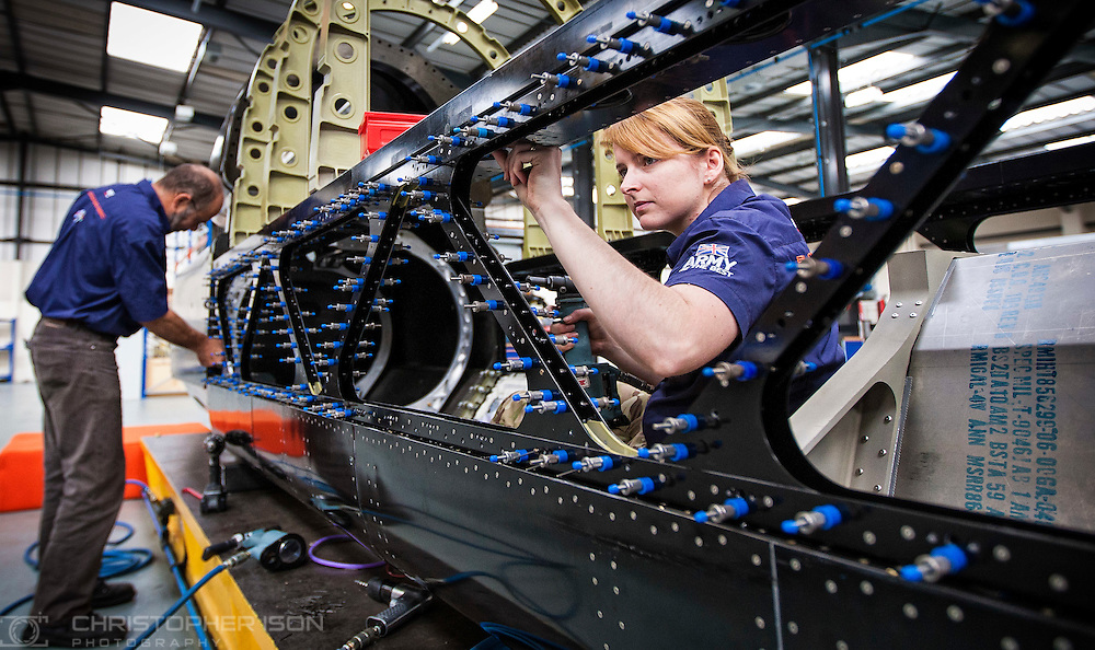 Army engineers work on land speed record car Bloodhound at the Bloodhound Technical Centre at Avonmouth near Bristol.