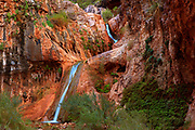 Waterfalls along Stone Creek in Grand Canyon National Park. Mile 132.