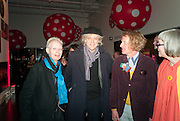 ANTHONY FAWCETT; SIR BOB GELDOF; GRAYSON PERRY; PHILLIPA PERRY, Yayoi Kusama opening. Tate Modern. London. 7 February 2012