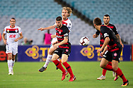 SYDNEY, NSW - JANUARY 18: Western Sydney Wanderers defender Brendan Hamill (5) and Adelaide United midfielder Ben Halloran (26) fight for the ball at the Hyundai A-League Round 14 soccer match between Western Sydney Wanderers and Adelaide United at ANZ Stadium in NSW, Australia 18 January 2019. Image by (Speed Media/Icon Sportswire)