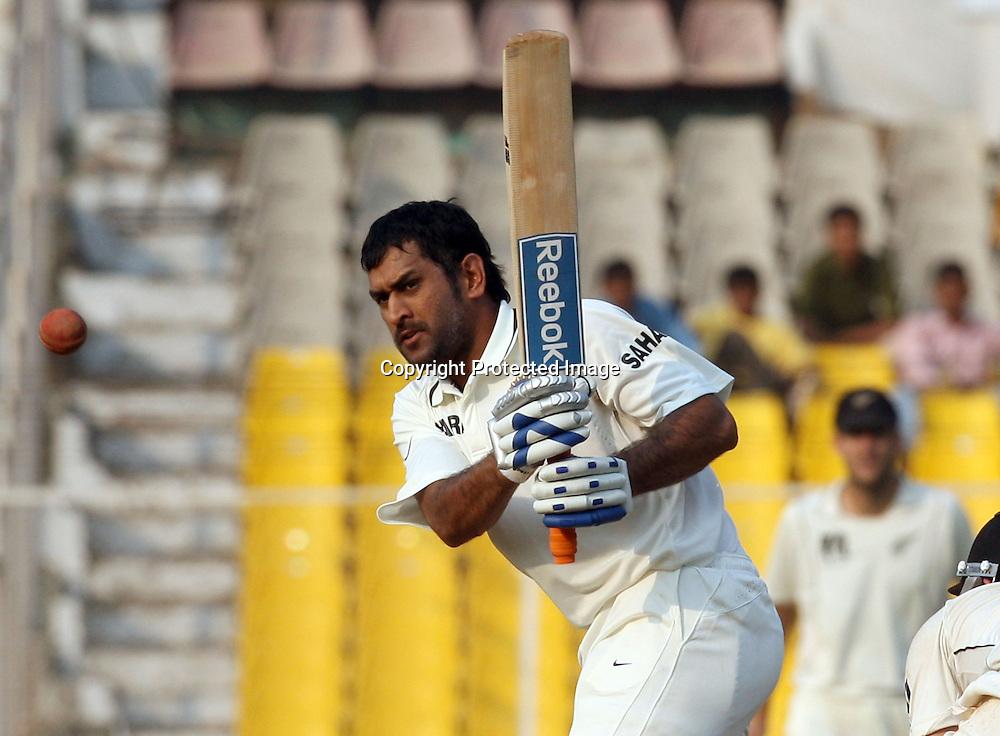 Indian Batsman Captain MS Dhoni Hit The Shot During The India vs New Zealand 1st Test Match Played at Sardar Patel Stadium, Motera, Ahmedabad 7, November 2010 (5-day match)