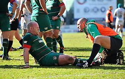 Dan Cole of Leicester Tigers is treated for an injury during a break in play - Photo mandatory by-line: Patrick Khachfe/JMP - Mobile: 07966 386802 28/03/2015 - SPORT - RUGBY UNION - Leicester - Welford Road - Leicester Tigers v Exeter Chiefs - Aviva Premiership