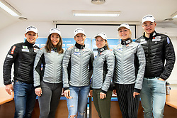 Miha Simenc, Eva Urevc, Katja Visnar, Alenka Cebasek, Anamarija Lampic and Janez Lampic during press conference of Slovenian Nordic Ski Cross country team before new season 2019/20, on Novamber 8, 2019, in SZS, Ljubljana, Slovenia. Photo by Vid Ponikvar / Sportida