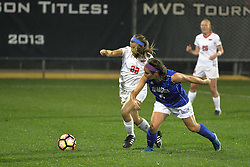 04 November 2016: Katie Wells(5) & Abby Basler(22) during an NCAA Missouri Valley Conference (MVC) Championship series women's semi-final soccer game between the Indiana State Sycamores and the Illinois State Redbirds on Adelaide Street Field in Normal IL