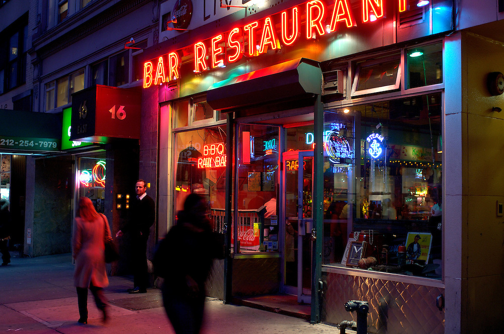 Bar Restaurant, Blue Hour, Madison Square, Manhattan, New York, New York, United States of America