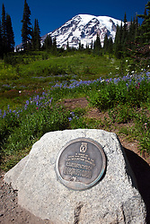 Memorial in honor of those who served in the 10th Mountain Division, with Mount Rainier in the background, Mt. Rainier National Park, Washington, United States of America