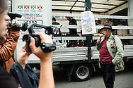 Corteo NoExpo2015. Alberto Perino, portavoce dei No Tav della Valsusa. Milano, 11 ottobre 2014.