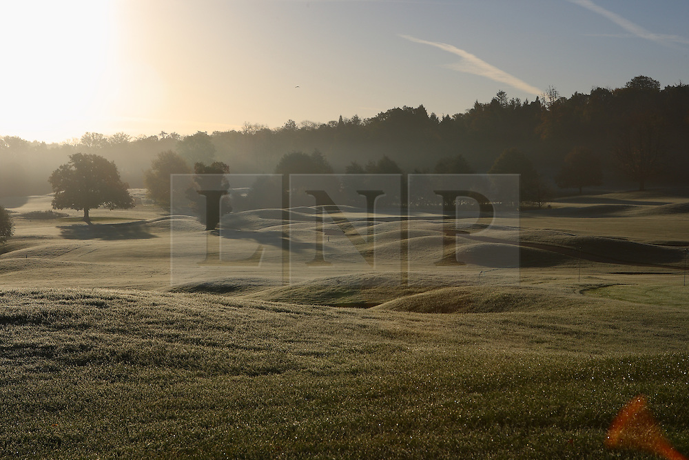 ©Licensed to London New Pictures 10/01/2014. Chartham Park Golf Club, Felcourt Road, East Grinstead, Surrey. UK. View of the morning sun on the frozen fareway. Presspics/LNP