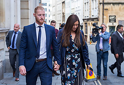 © Licensed to London News Pictures. 10/08/2018. Bristol, UK. BEN STOKES his wife CLARE RATCLIFFE leaves Bristol Crown court at lunchtime today for the fourth day of his trial on charges of affray that relate to a fight outside a Bristol nightclub on September 25 2017. England cricketer Ben Stokes and two other men, Ryan Ali, 28, and Ryan Hale, 27, all deny the charge. Stokes, Ali and Hale are jointly charged with affray in the Clifton Triangle area of Bristol on September 25 last year, several hours after England had played a one-day international against the West Indies in the city. A 27-year-old man allegedly suffered a fractured eye socket in the incident. Photo credit: Simon Chapman/LNP