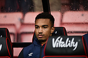 AFC Bournemouth Midfielder, Junior Stanislas (19) on the bench during the Premier League match between Bournemouth and West Ham United at the Vitality Stadium, Bournemouth, England on 19 January 2019.