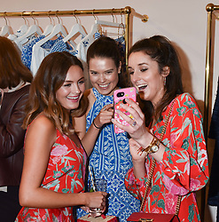 Left to right, Niomi Smart, Sarah Ann Macklin and Rosanna Falconer at the launch of the Beulah Flagship store, 77 Elizabeth Street, London England. 16 May 2018.