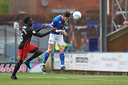 GOAL Ian Henderson scores with a header 1-0 during the EFL Sky Bet League 1 match between Rochdale and Coventry City at Spotland, Rochdale, England on 17 April 2017. Photo by Daniel Youngs.