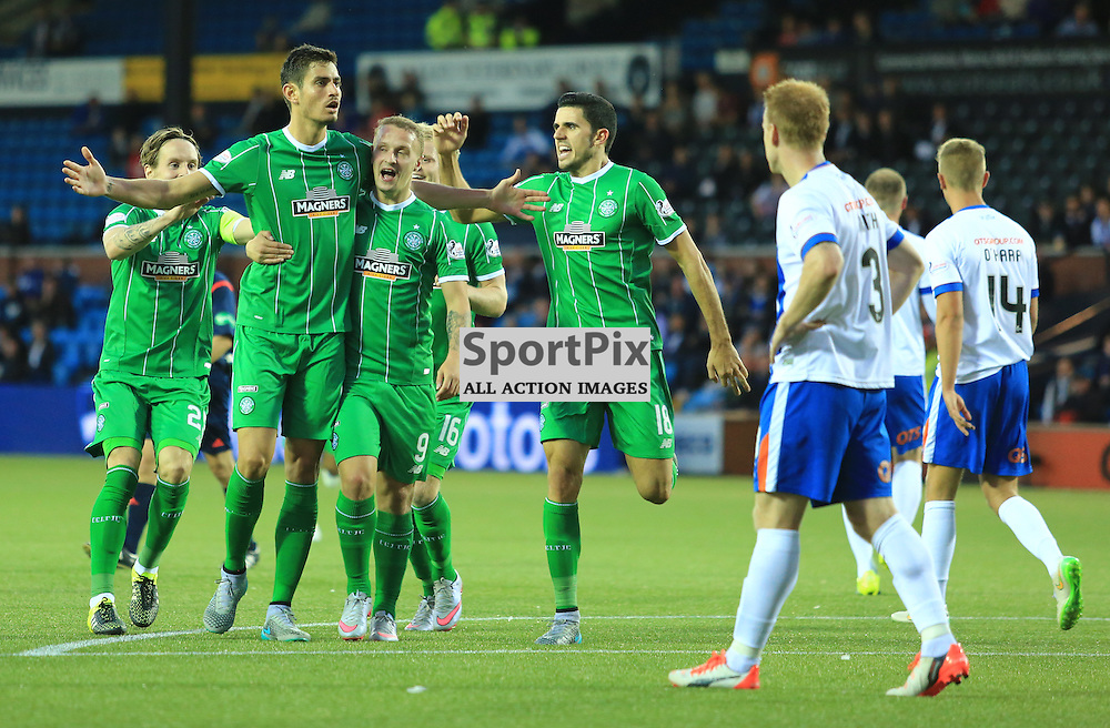 Celtic's Tomas Rogić  celebrates with Leigh Griffiths after firing in an unstoppable shot to put celtic in front during the Kilmarnock FC V Glasgow Celtic FC Scottish Premiership 12th August 2015 ©Edward Linton | SportPix.org.uk