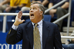 November 16, 2010; Berkeley, CA, USA;  California Golden Bears head coach Mike Montgomery on the sidelines against the Cal State Northridge Matadors during the second half at Haas Pavilion.  California defeated Cal State Northridge 80-63.