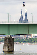 The Zoo bridge across the Rhine, the dome and the cable car...M.S. Johann Strauss, a brand new four star+ river cruiser operated by Austrian River Cruises, and chartered by Club 50 (a travel agency especially for seniors aged 50 and up) undertook an epic 3-week journey (May 21 to June 10, 2004) all the way from Amsterdam to the Black Sea?along Rhine, Main and Danube?, presumably the first passenger vessel ever to have done so. This is one of the images recorded during this historic voyage.