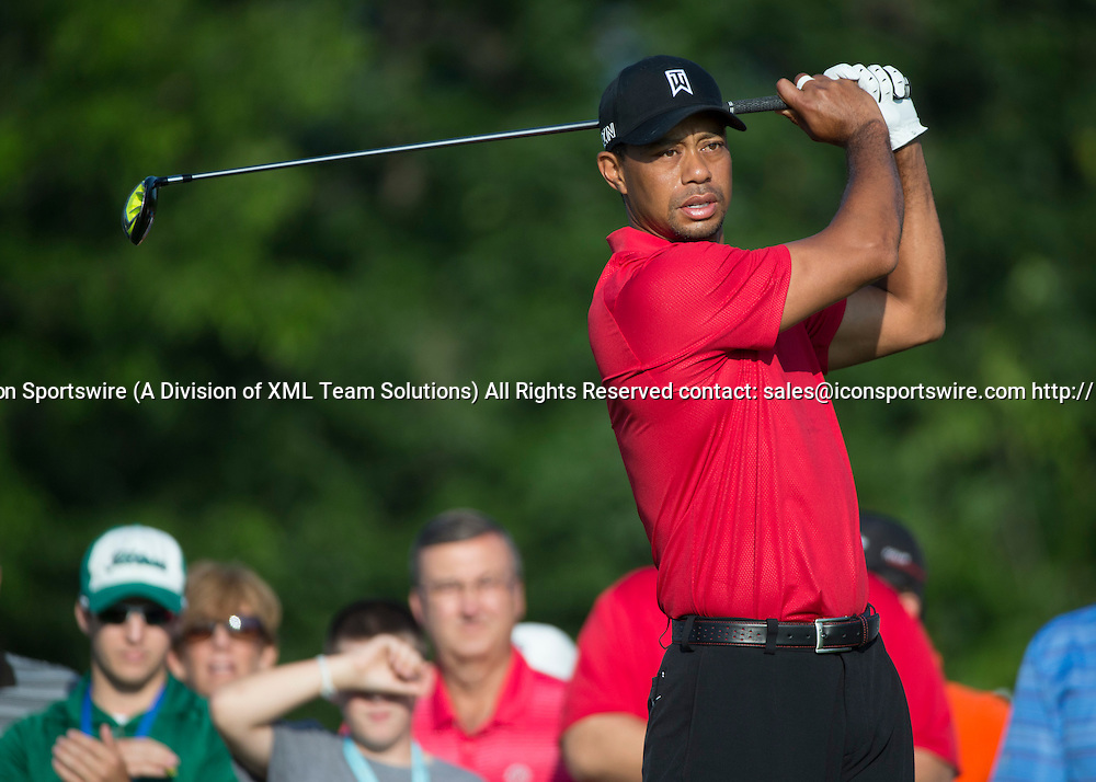 June 07 2015: Tiger Woods waiting to tee off during the final round of the Memorial Tournament held at the Muirfield Village Golf Club in Dublin, Ohio.