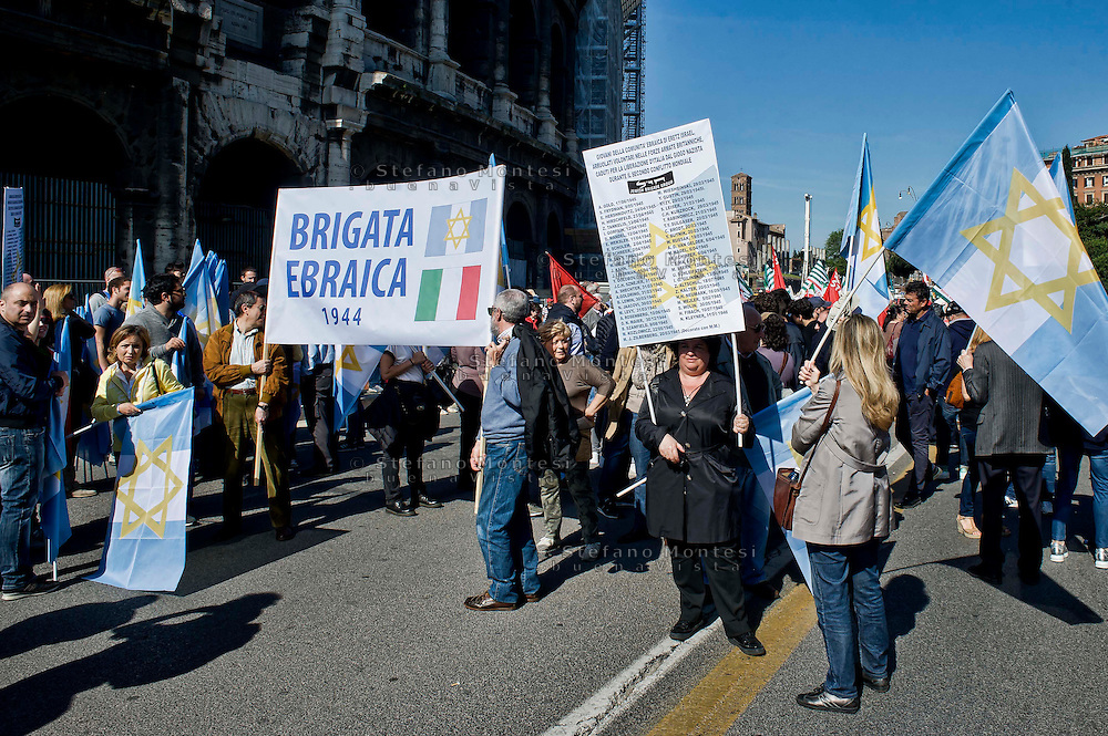 Roma 25 Aprile 2014<br /> Manifestazione per il 69° anniversario della liberazione dal Nazifascismo. La brigata ebraica<br /> Roma 25 April 2014. <br /> Demonstration for the 69th anniversary of liberation from Nazi-fascism . The Jewish Brigade
