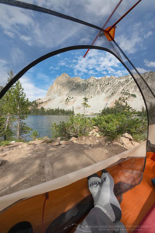 Backcountry camp at Alice Lake Sawtooth Mountains Idaho