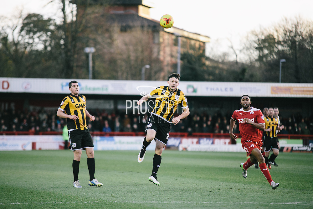 port vale's Yates passes ball during the Sky Bet League 1 match between Crawley Town and Port Vale at Broadfield Stadium, Crawley, England on 20 December 2014. Photo by Sam Shaw.