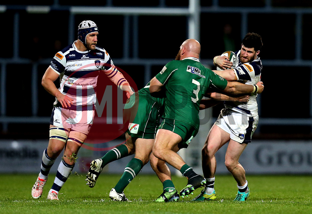 Pete Lucock of Yorkshire Carnegie is tackled - Mandatory by-line: Robbie Stephenson/JMP - 17/05/2017 - RUGBY - Headingley Carnegie Stadium - Leeds, England - Yorkshire Carnegie v London Irish - Greene King IPA Championship Final 1st Leg