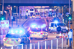 © Licensed to London News Pictures. 03/06/2017. LONDON, UK.  Police cars travel at speed past London Bridge towards Borough Market in Tooley Street.  A van and knife attack have been reported to have taken place on London Bridge this evening and also a further incident at Borough Market. Photo credit: Vickie Flores/LNP