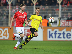 24.01.2016, Stadion An der Alten Foersterei, Berlin, GER, Testspiel, 1. FC Union Berlin vs. Borussia Dortmund, im Bild Maximilian Thiel (#11, 1. FC Union Berlin), Erik Durm (#37, Borussia Dortmund) // during a preperation Football Match between 1. FC Union Berlin and Borussia Dortmund at the Stadion An der Alten Foersterei in Berlin, Germany on 2016/01/24. EXPA Pictures © 2016, PhotoCredit: EXPA/ Eibner-Pressefoto/ Hundt<br /> <br /> *****ATTENTION - OUT of GER*****
