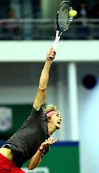 SHANGHAI, Oct. 13, 2018  Alexander Zverev of Germany serves during the singles semifinal match against Novak Djokovic of Serbia at 2018 ATP Shanghai Masters tennis tournament in Shanghai, east China, Oct. 13, 2018. Zverev lost 0-2. (Credit Image: © Fan Jun/Xinhua via ZUMA Wire)