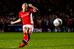 Chris Solly of Charlton Athletic scores his penalty in the shoot out - Mandatory by-line: Robbie Stephenson/JMP - 17/05/2019 - FOOTBALL - The Valley - Charlton, London, England - Charlton Athletic v Doncaster Rovers - Sky Bet League One Play-off Semi-Final 2nd Leg