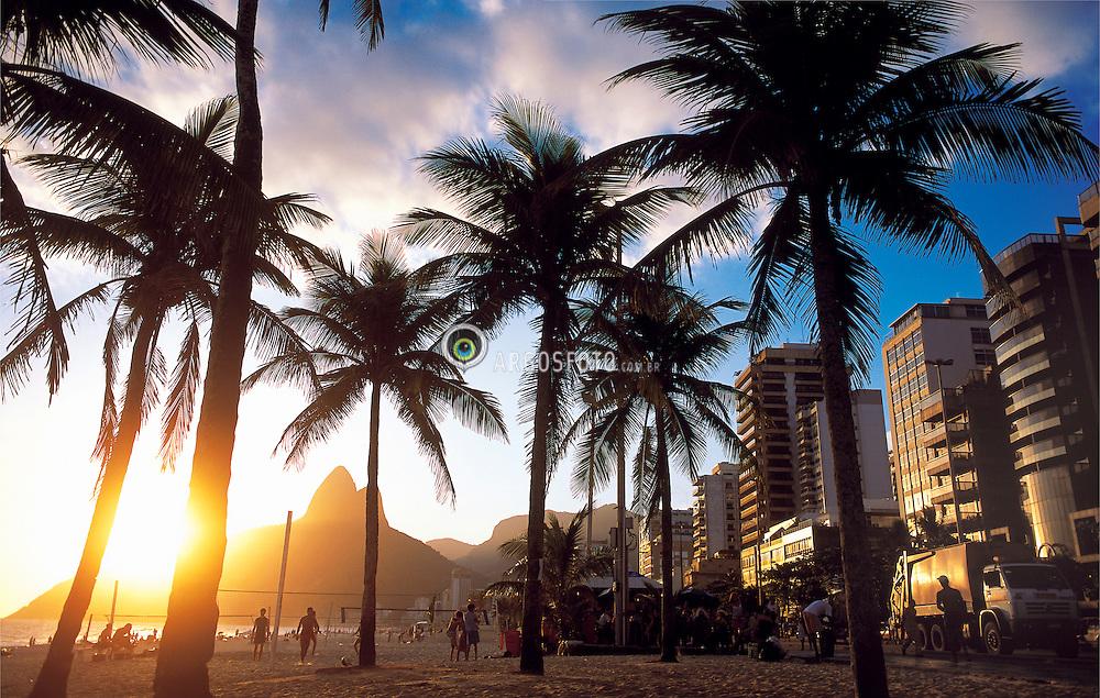 Arvores da cidade do Rio de Janeiro. Por do sol em Ipanema / Ipanema Beach. Trees of Rio de Janeiro city