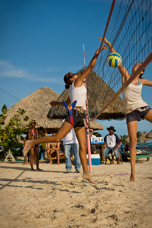 Beach volleyball tournament at Old Belize, Belize City, Belize