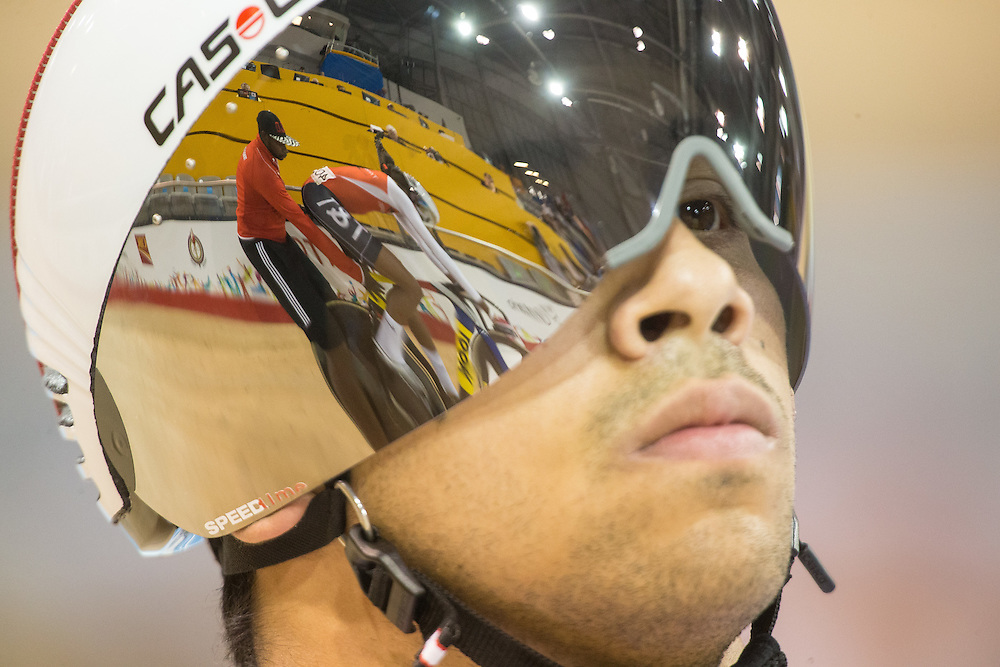 Joseph Veloce of Canada prepares for in his men's cycling sprint quarterfinals at the 2015 Pan American Games in Toronto, Canada, July 17,  2015.  AFP PHOTO/GEOFF ROBINS
