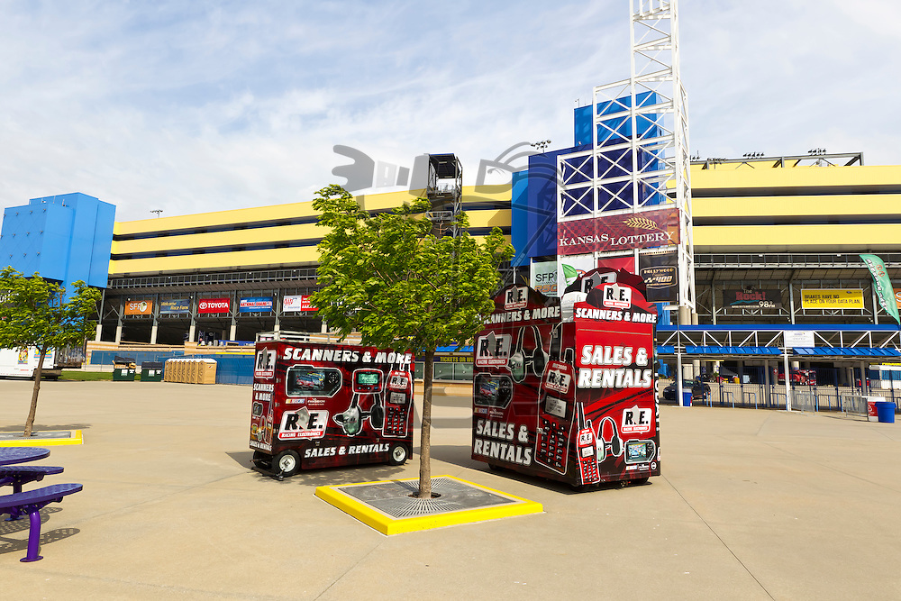 KANSAS CITY, KS - APR 19, 2012:  The NASCAR Sprint Cup haulers wait to park their rigs for the STP 400 at the Kansas Speedway in Kansas City, KS.